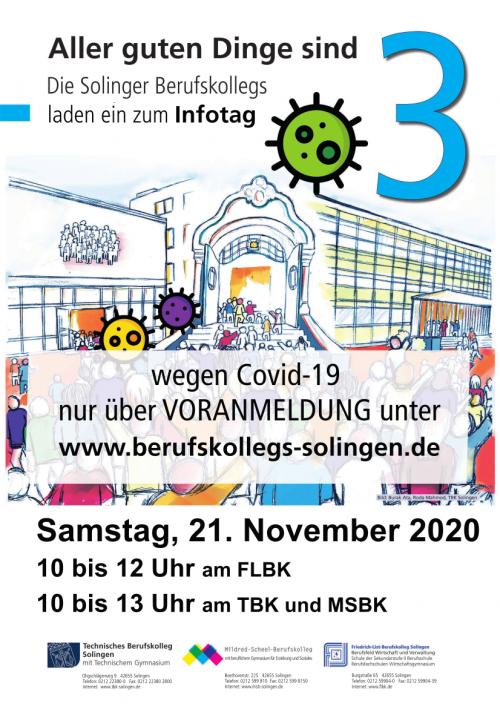 Das TBK Solingen sowie die anderen Solinger BKs öffnen am 21.11.2020 ihre Türen. In diesem Jahr ist eine Voranmeldung erforderlich!