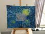 """Vorlage für die Übung war ein Ausschnitt von Vincent Van Goghs """"Sternennacht"""" (1889)"""